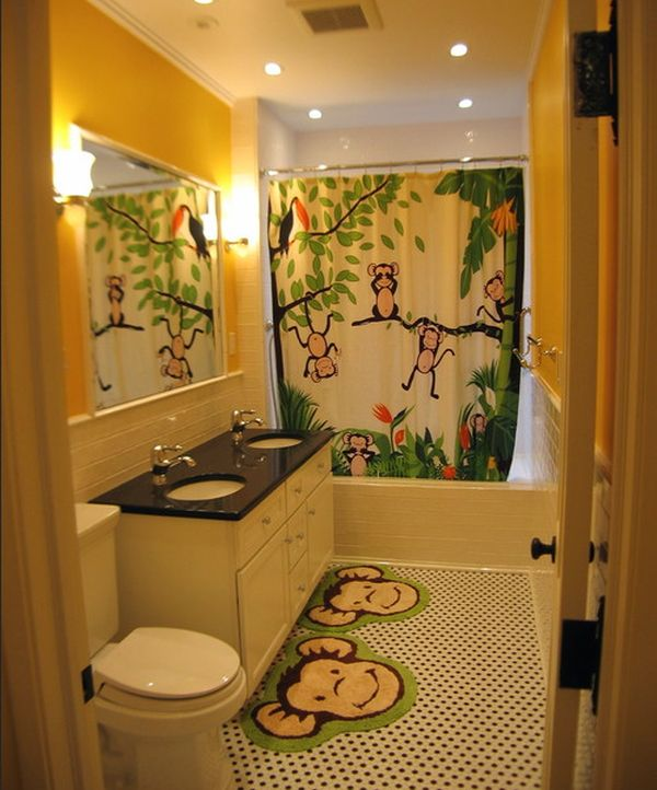 and vivid jungle theme surely lights up this bathroom design with glee