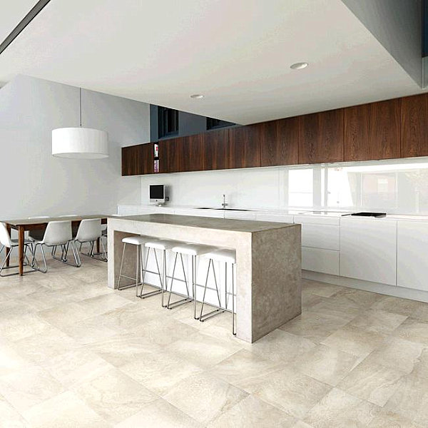 Porcelain tile with the look of travertine