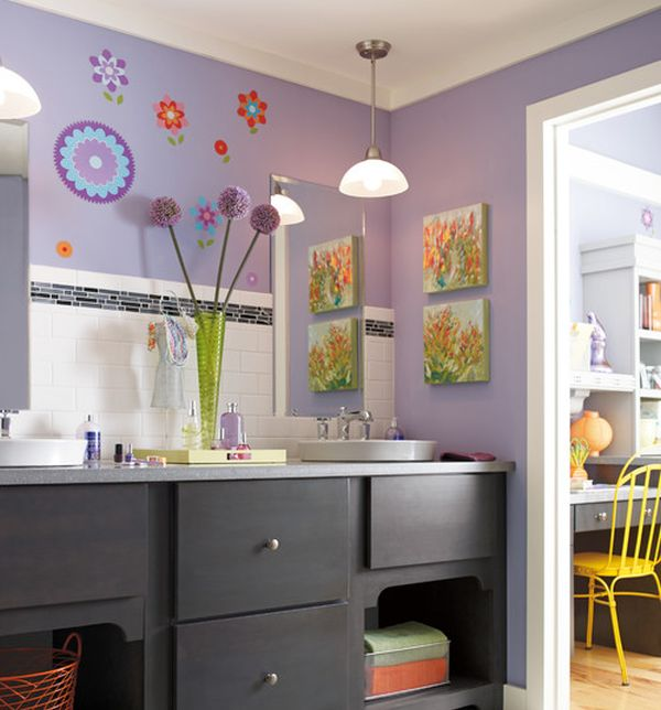 View in gallery Purple kids' bathroom with ample color and attractive wall  art
