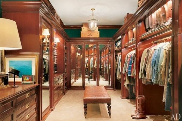 Ralph Lauren's all wooden closet.