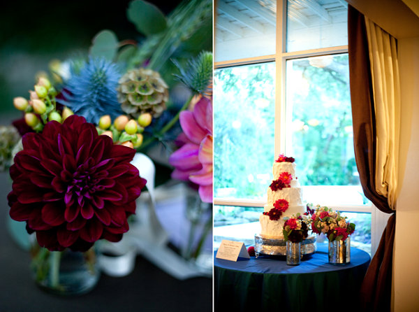 Rich floral accents on wedding tables