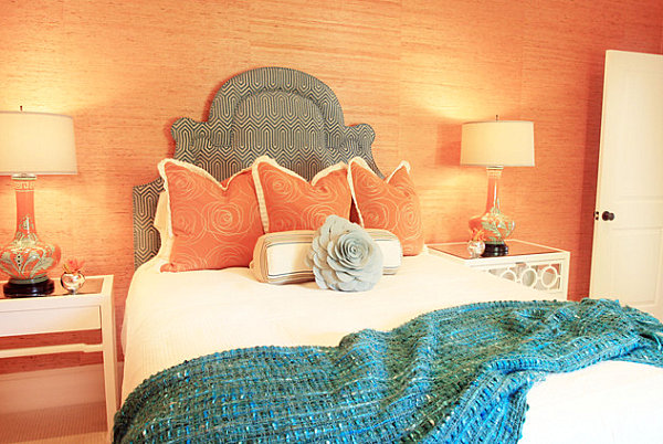 Salmon and blue bedroom