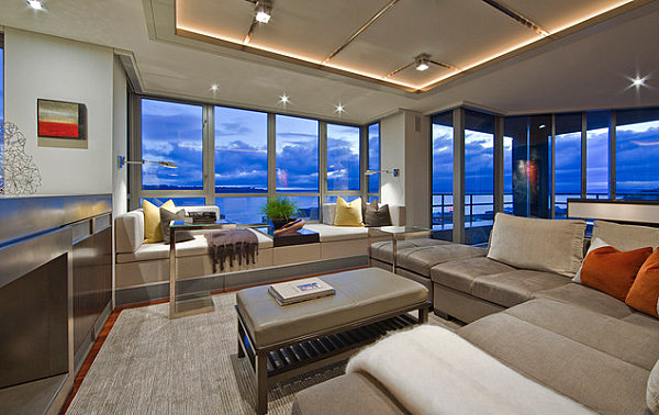 Scenic living room with colorful accents