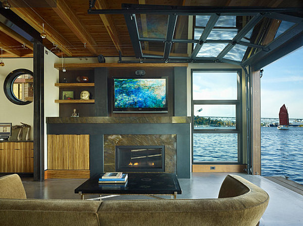 Amazing View In Gallery Seattle Houseboat Living Room Part 8
