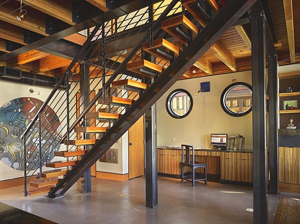 Seattle houseboat staircase