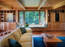 Simple and subtle wood paneled ceiling incorporates the existing wooden beams seamlessly 217x155 33 Stunning Ceiling Design Ideas to Spice Up Your Home