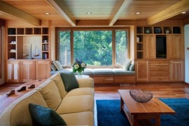 Simple and subtle wood paneled ceiling incorporates the existing wooden beams seamlessly 270x180 33 Stunning Ceiling Design Ideas to Spice Up Your Home