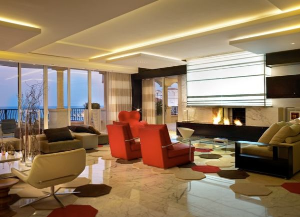 Sizzling living room ceiling is illuminated in warm hues