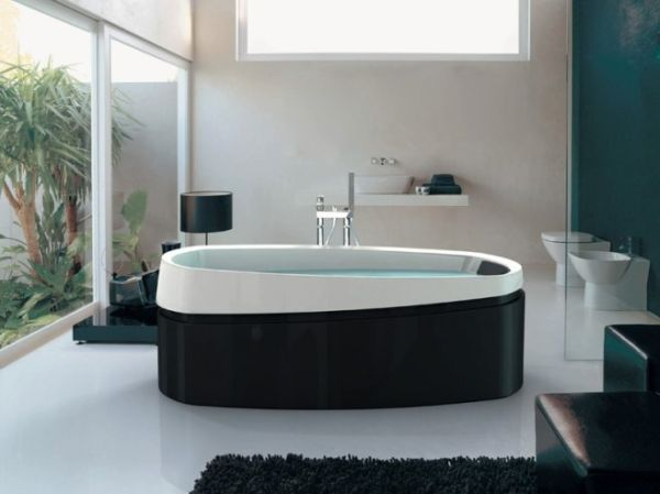 Sleek bathroom design in black and white