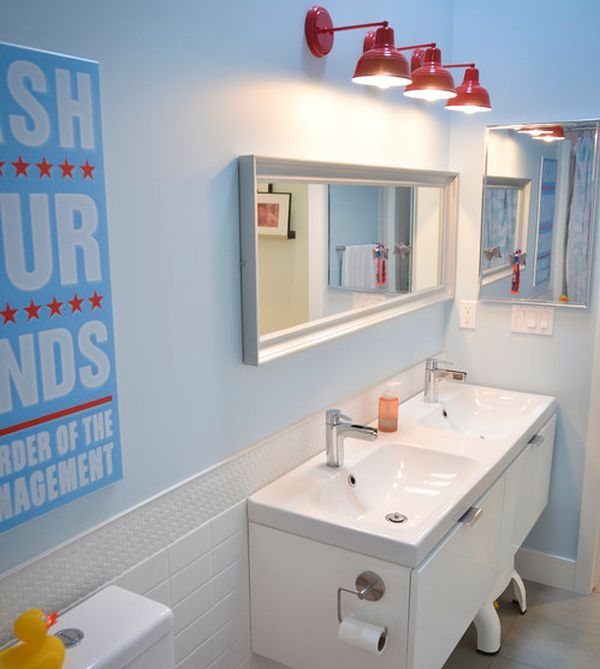 Sleek modern kids' bathroom with interesting lighting choice