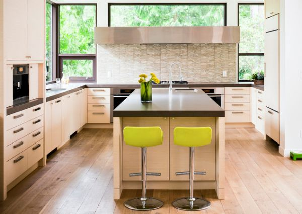 10 kitchen color schemes for the modern home for Modern green kitchen designs