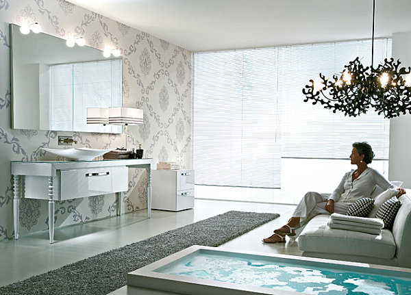 Soft patterned bathroom wallpaper