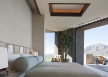 Softly-lit sapele mahogany ceiling coffers complete this amazing bedroom design