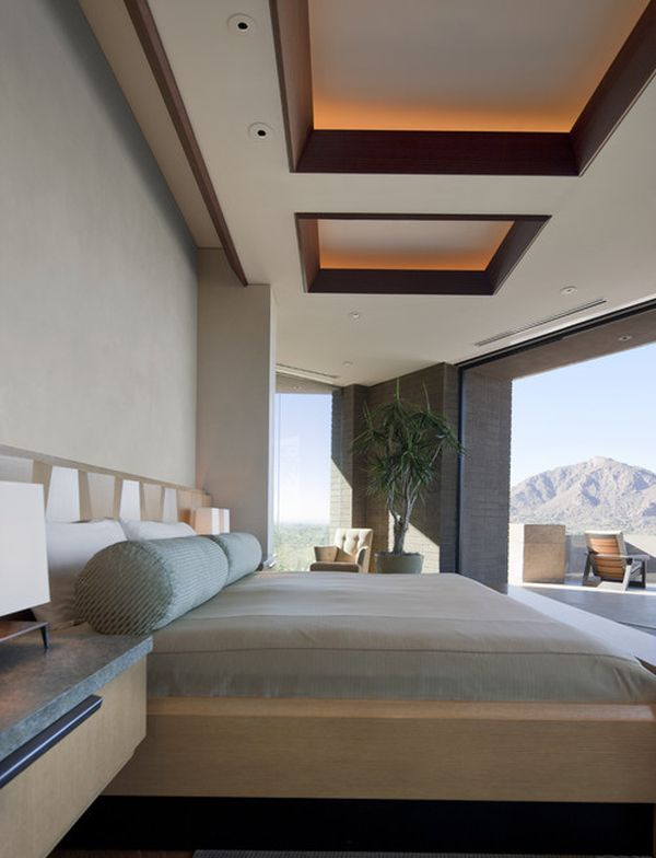 view in gallery softly lit sapele mahogany ceiling coffers complete this amazing bedroom design - Room Design Home Roofs