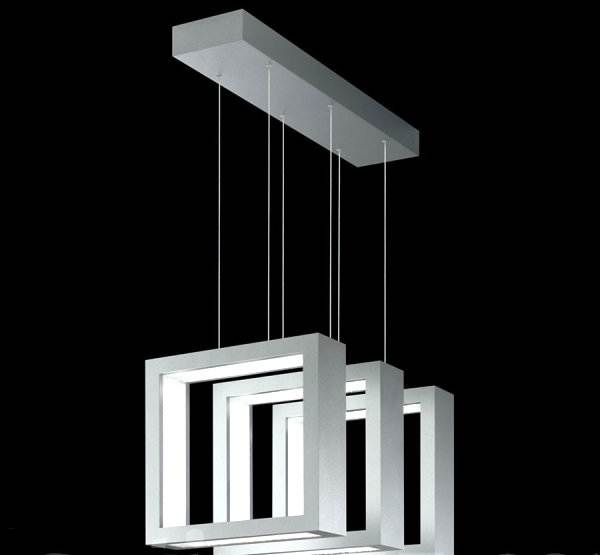 Square-shaped triple suspension pendant light