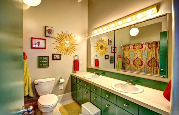 Stunning kids bathroom with beautiful repurposed green cabinets 23 Kids Bathroom Design Ideas to Brighten Up Your Home