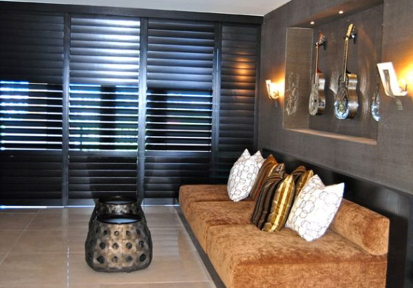 Stylish shutters create a beautiful wall draped in modern charm