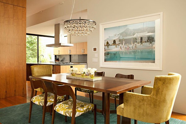 Teal and gold dining room