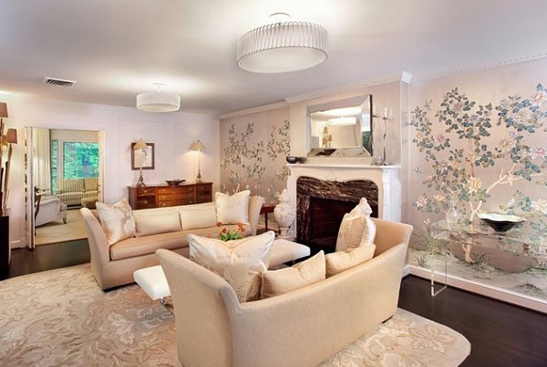 Tree blossom living room wallpaper