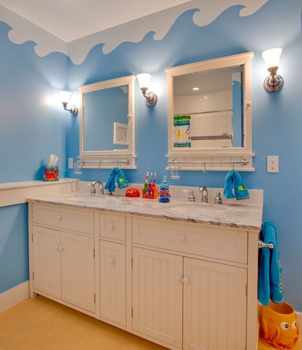 underwater world theme on the walls with unique cabinets turns this bathroom into a world of - Bathroom Decorating Ideas For Kids