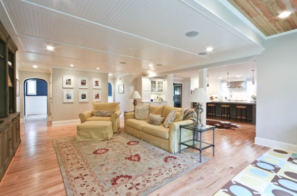 Vaulted bead board ceiling demarcates this living space borders with class