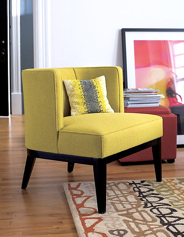 View in gallery Vibrant yellow upholstered chair & New Colorful Furniture Finds to Brighten Your Home