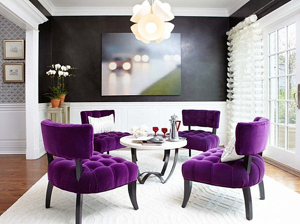 Violet chairs and red tableware