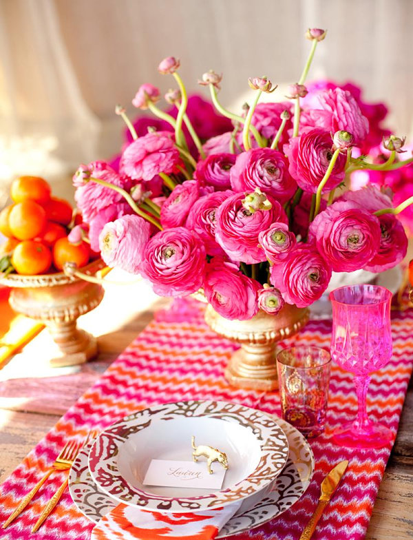 View in gallery Vivid pink and orange festive table