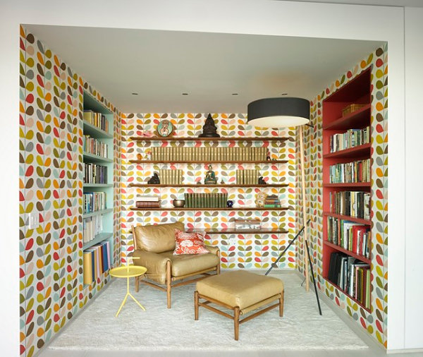 Wallpapered study