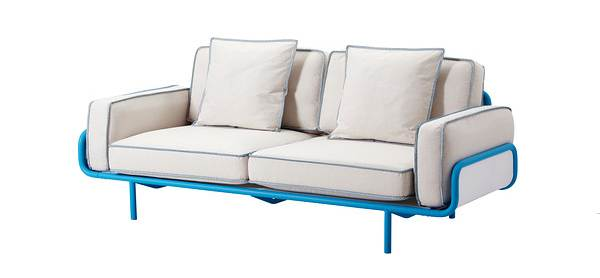 White and blue sofa