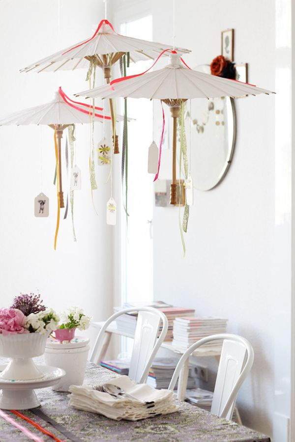 White DIY umbrellas hung from the ceiling make a cool party decoration