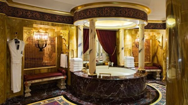 A beautiful Arabian-style bathroom offers plenty of luxury.
