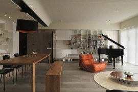 Modern Apartment Plan With Neutral Colors and Bold Accents