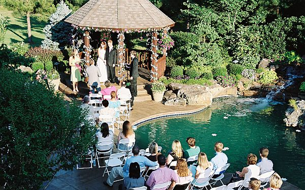 backyard home wedding setup