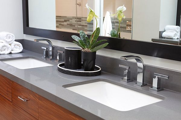 Bathroom furniture with built-in sink