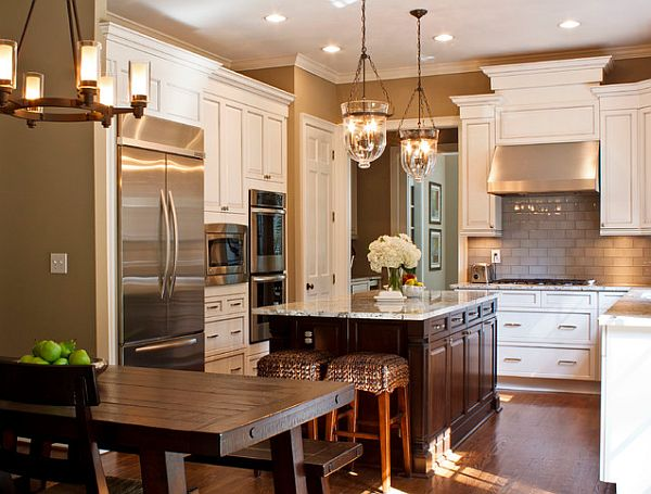 beautiful kitchen with chair and bench