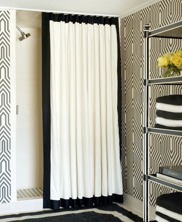 Black And White Lattice Curtains Black and White Patterned She