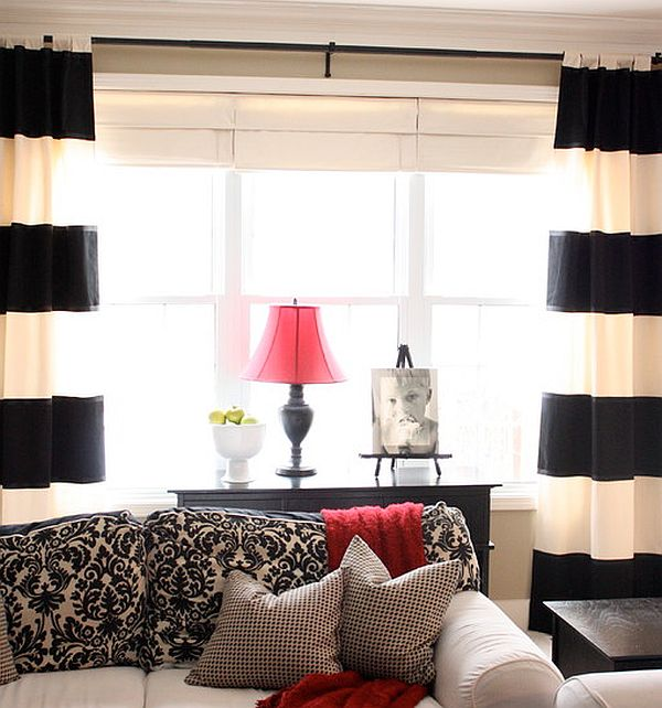 Creative black and white patterned curtain ideas for White curtains design ideas