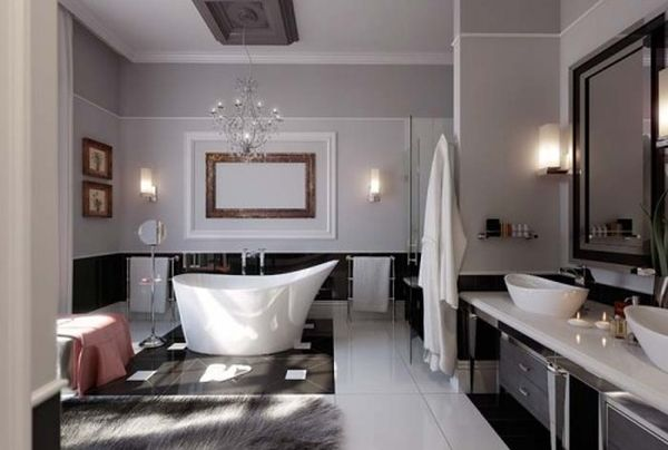 A beautiful contemporary-style bathroom.