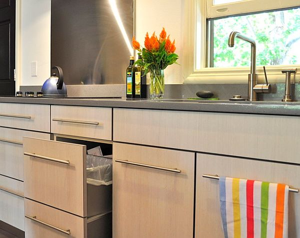 Bright painted kitchen cabinets