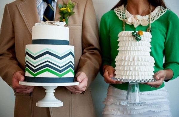 chevron wedding cake design