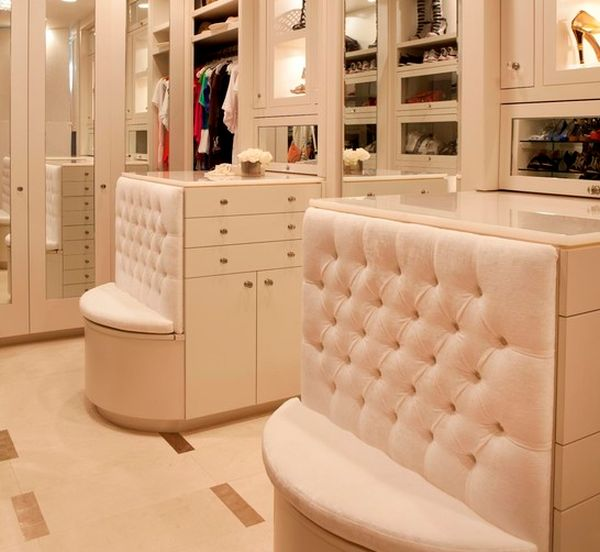 Built-in seats are a great addition to any closet.