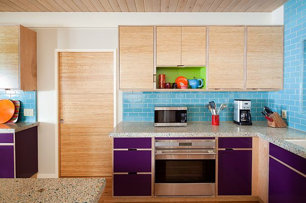 Colorful blue kitchen wall tiles