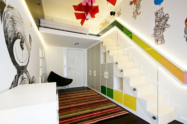 colorful hallway with a white staircase