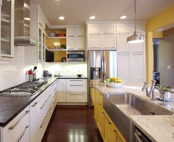 colorful kitchen yellow cabinets