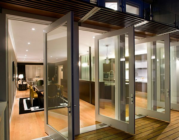 view in gallery contemporary home with modern french doors leading outside