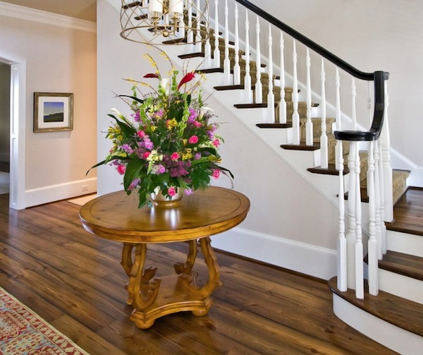 foyer flowers entry stairs