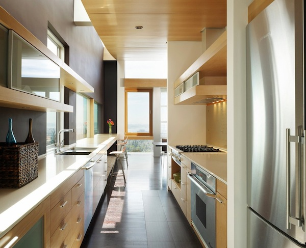 galley kitchen modern wood