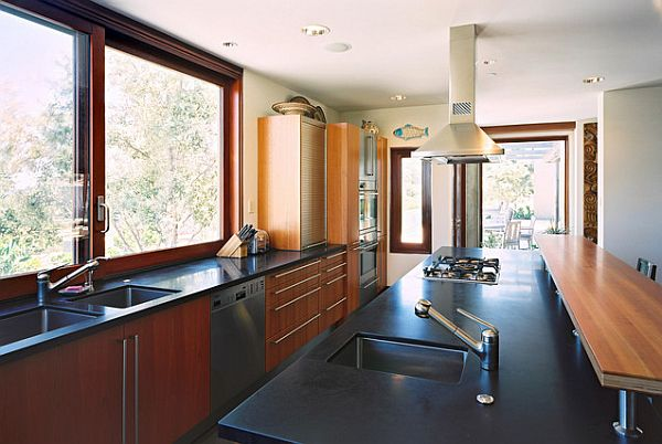 View In Gallery Galley Style Kitchen With Cooktop And Prep Sink
