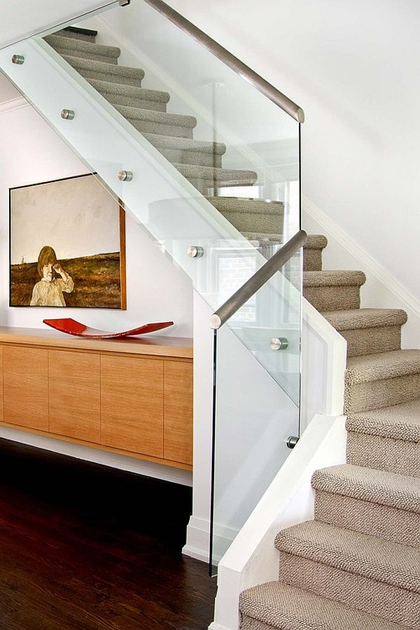 Glass railings with stainless steel elements